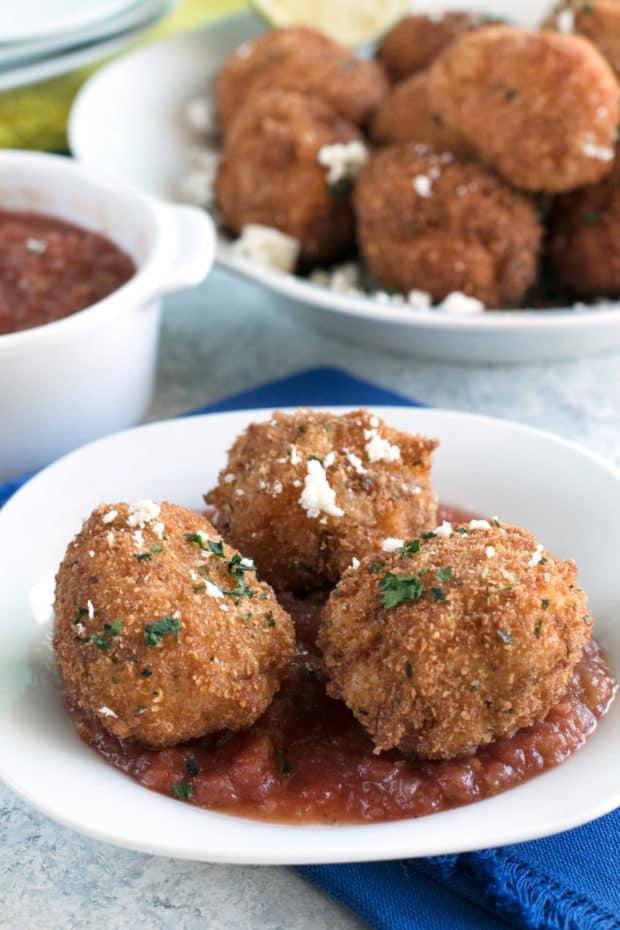 Pulled Pork Chipotle Arancini   cakenknife.com #pulledpork #fried #tailgating #appetizer