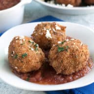Pulled Pork Chipotle Arancini | cakenknife.com #pulledpork #fried #tailgating #appetizer