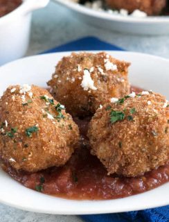Pulled Pork Chipotle Arancini | cakenknife.com #pulledpork #fried #tailgating #appetizer