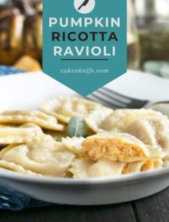 Pumpkin Ricotta Ravioli with Brown Butter Sage Sauce Pinterest graphic