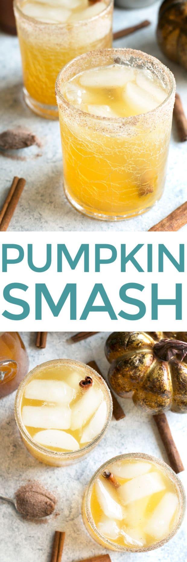 Bourbon Pumpkin Smash   cakenknife.com #cocktail #pumpkinspice #cinnamon #syrup