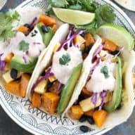 Roasted Butternut Squash Black Bean Tacos | cakenknife.com #vegetarian #healthy #tacotuesday #sponsored