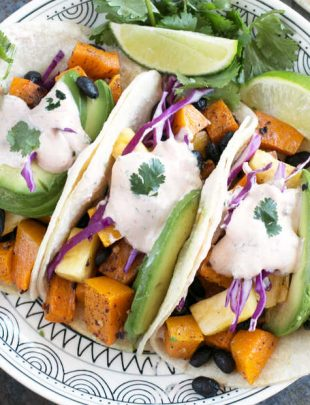 Roasted Butternut Squash Black Bean Tacos | cakenknife.com #vegetarian #healthy #tacotuesday #sponsored