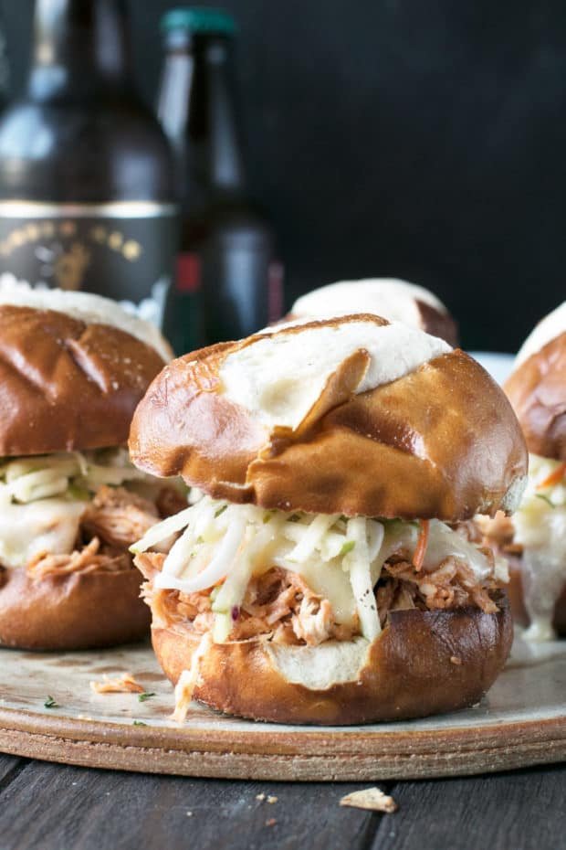Slow Cooker Apple Cider Chicken Sliders | cakenknife.com #sliders #tailgating #slowcooker #crockpot #fall #apple