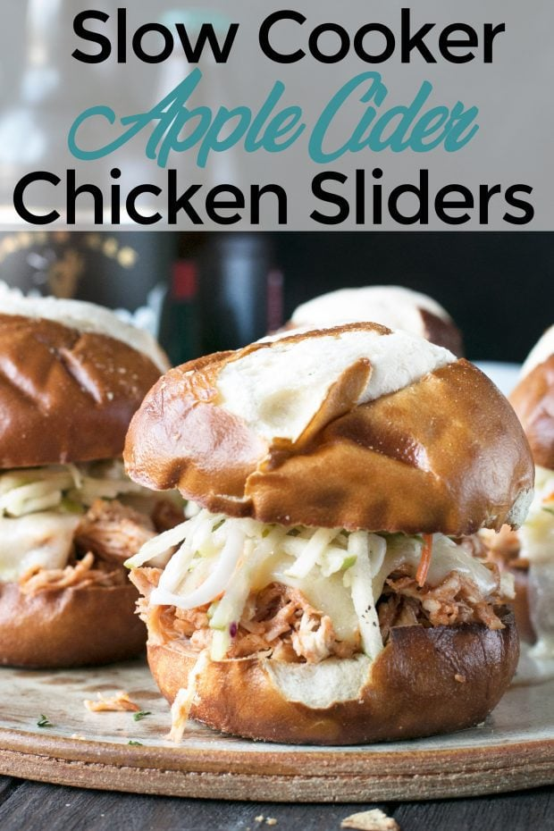 Slow Cooker Apple Cider Chicken Sliders Pin Image