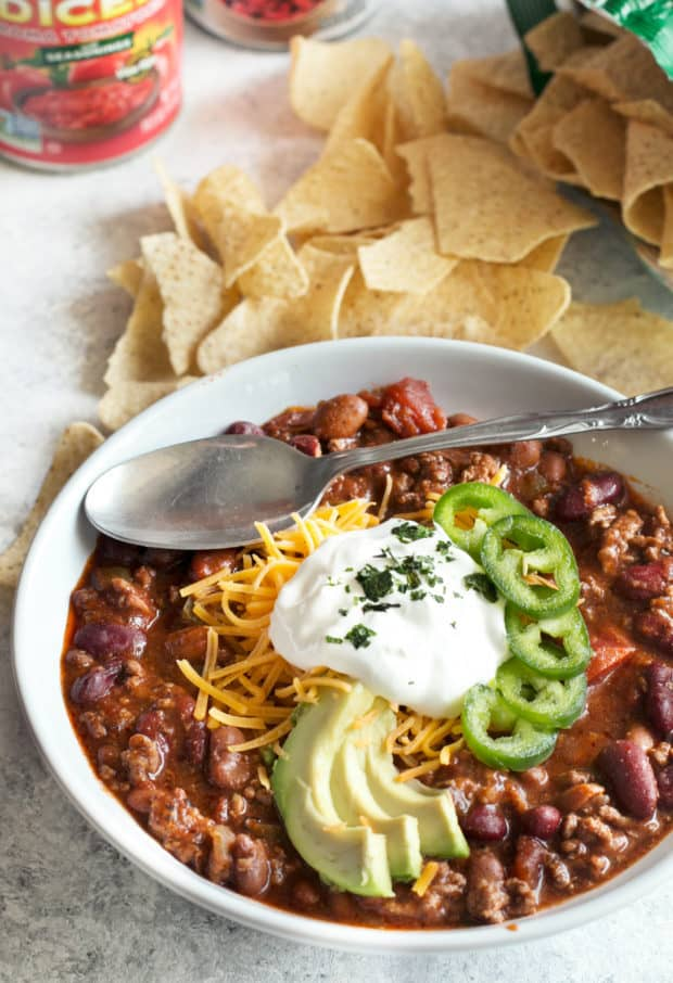 Slow Cooker Spicy Taco Chili   cakenknife.com #choosemychili #chilicookoff #slowcooker #crockpot