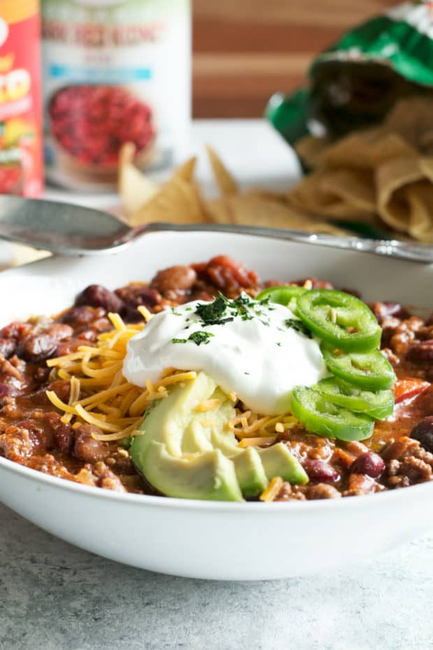 Slow Cooker Spicy Taco Chili | cakenknife.com #choosemychili #chilicookoff #slowcooker #crockpot