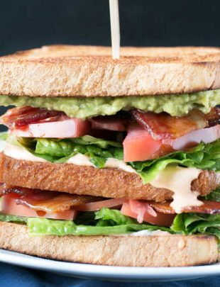 Double Decker BLAT with Spicy Candied Bacon | cakenknife.com #lunch #sandwich #bacon #homemade
