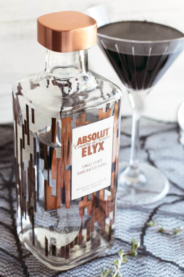 Absolut Elyx Black Magic Martini | cakenknife.com #cocktail #sponsored #halloween #magical