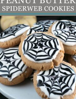 Peanut Butter Spiderweb Cookies Pinterest Image