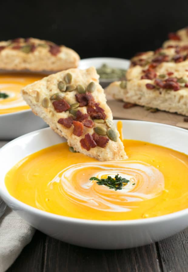 Curried Roasted Butternut Squash Soup with Bacon Pumpkin Seed Bread | cakenknife.com #soup #fall #butternutsquash #thanksgiving