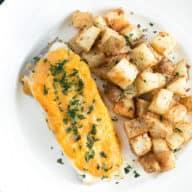 Parmesan Lemon Herb Roasted Potatoes with LoveTheWild's Fantastic Fish Dinner | cakenknife.com #sponsored #healthy #yummy