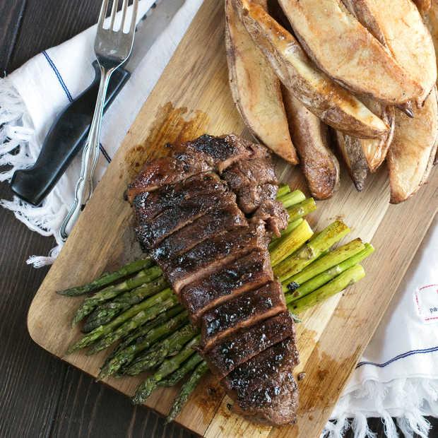 Spicy Bourbon Sugar Rubbed Strip Steak