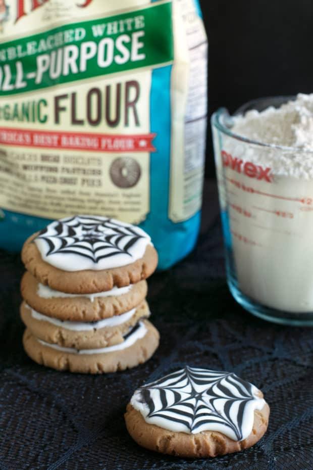 Peanut Butter Spiderweb Cookies | cakenknife.com #spiderweb #halloween #dessert #cookie