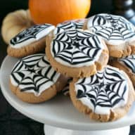 Peanut Butter Spiderweb Cookies | cakenknife.com #spiderweb #halloween #dessert #cookie
