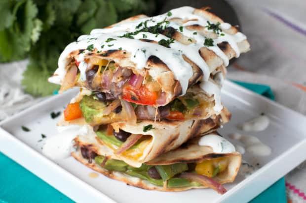 Veggie Avocado Quesadilla with Cilantro Crema | cakenknife.com #vegetarian #healthy #dinner