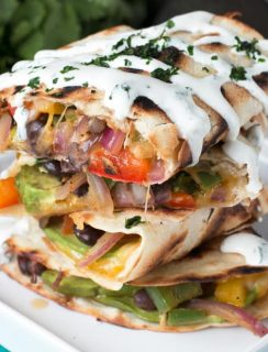 Veggie Avocado Quesadilla with Cilantro Crema | cakenknife.com #vegetarian #healthy #dinner