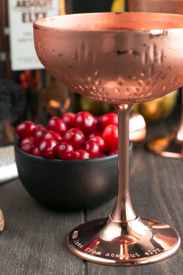 Absolut Elyx Ginger Martini with Drunken Cranberries | cakenknife.com #ad #cocktail #coppermakesitbetter #martini