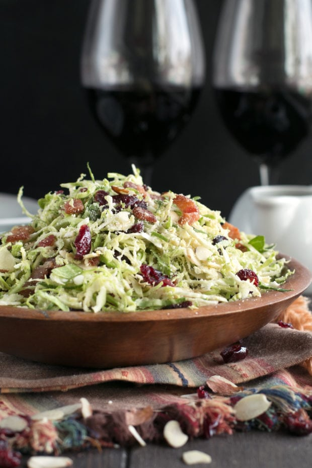 Bacon Cranberry Shaved Brussels Sprouts Salad - Last Minute Thanksgiving Recipes   cakenknife.com #salad #thanksgiving #sidedish #healthy