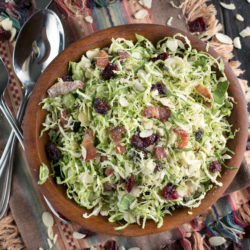 Bacon Cranberry Shaved Brussels Sprouts Salad | cakenknife.com #salad #thanksgiving #sidedish #healthy