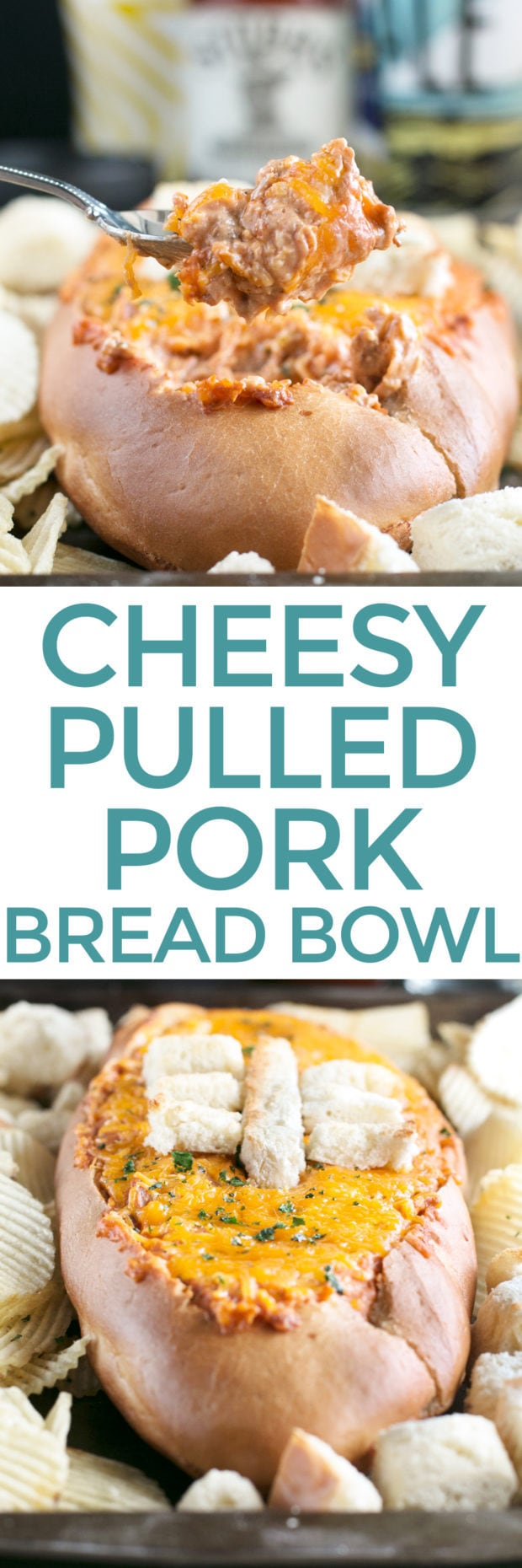 Cheesy Pulled Pork BBQ Bread Dip | cakenknife.com #BBQ #extremetailgating #ad #tailgating #football