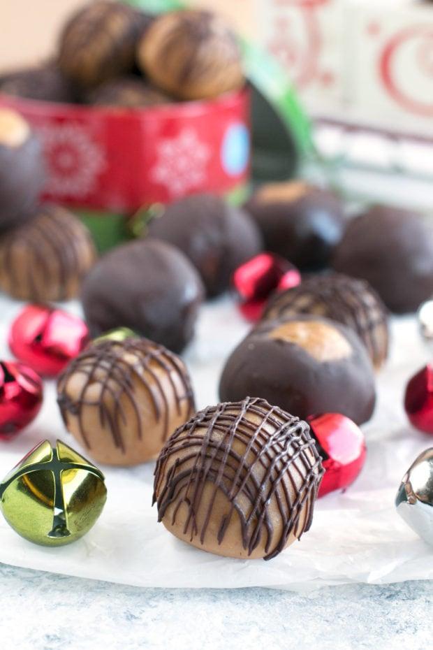 Crispy Bourbon Buckeyes | cakenknife.com #dessert #chocolate #christmas #holiday #cookies #sweetestseason