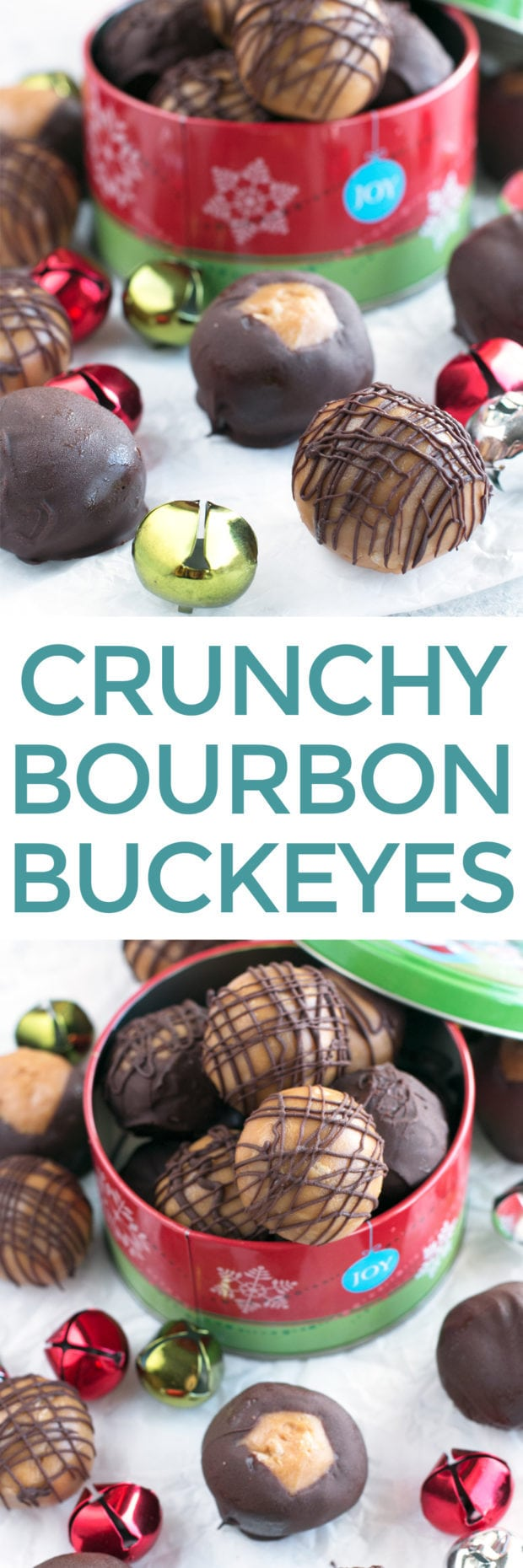 Crispy Bourbon Buckeyes | cakenknife.com #dessert #chocolate #christmas #holiday #cookies #sweetestseason