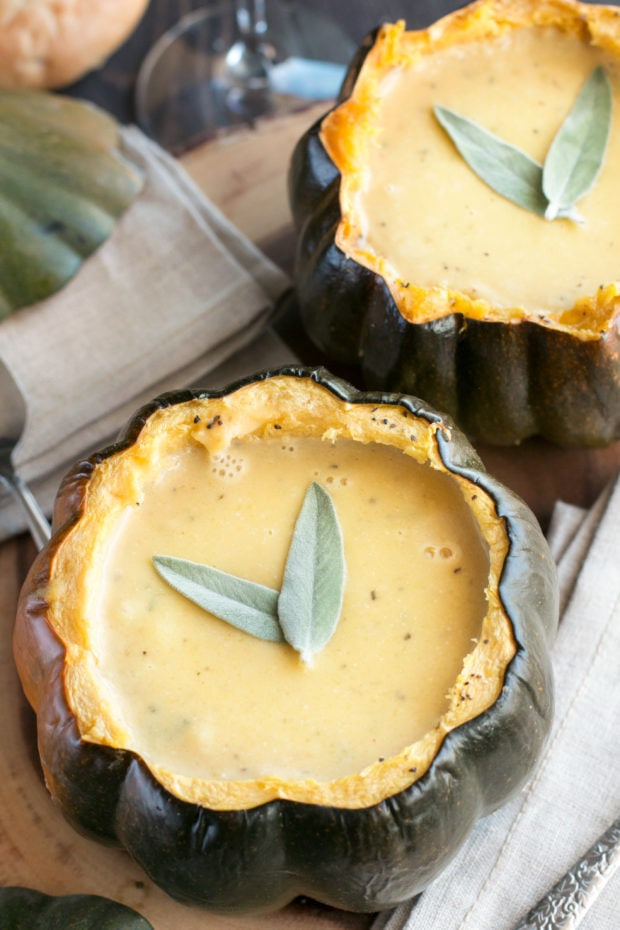 Individual Ginger Acorn Squash Soup Bowls | cakenknife.com #soup #thanksgiving #holiday #recipe