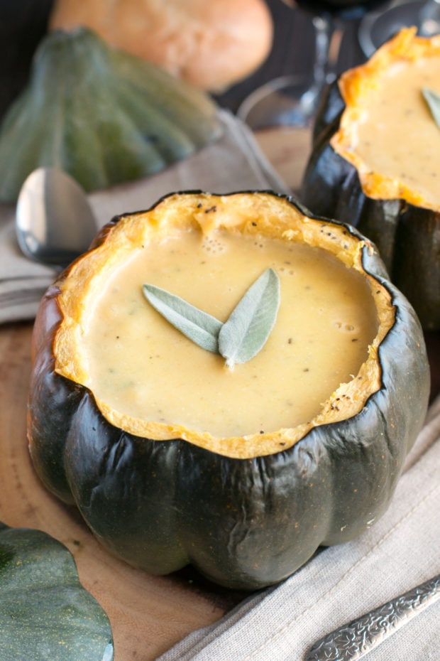 Individual Ginger Acorn Squash Soup Bowls   cakenknife.com #soup #thanksgiving #holiday #recipe