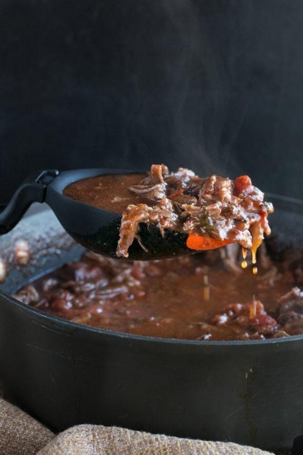 Red Wine Slow Cooker Short Rib Ragu with Fettuccine   cakenknife.com #sponsored #holidaymeal #dinner #pasta #beef