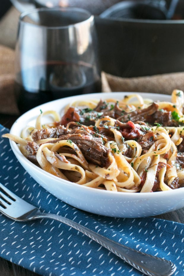 Red Wine Slow Cooker Short Rib Ragu with Fettuccine | cakenknife.com #sponsored #holidaymeal #dinner #pasta #beef