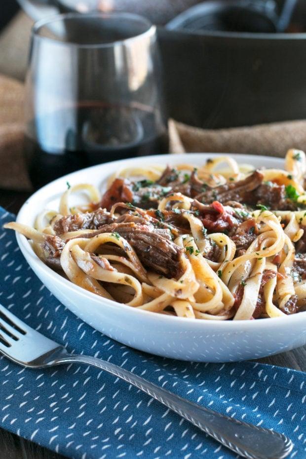 Red Wine Slow Cooker Short Rib Ragu with Fettuccine | cakenknife.com #sponsored #holidaymeal #dinner #pasta #beef