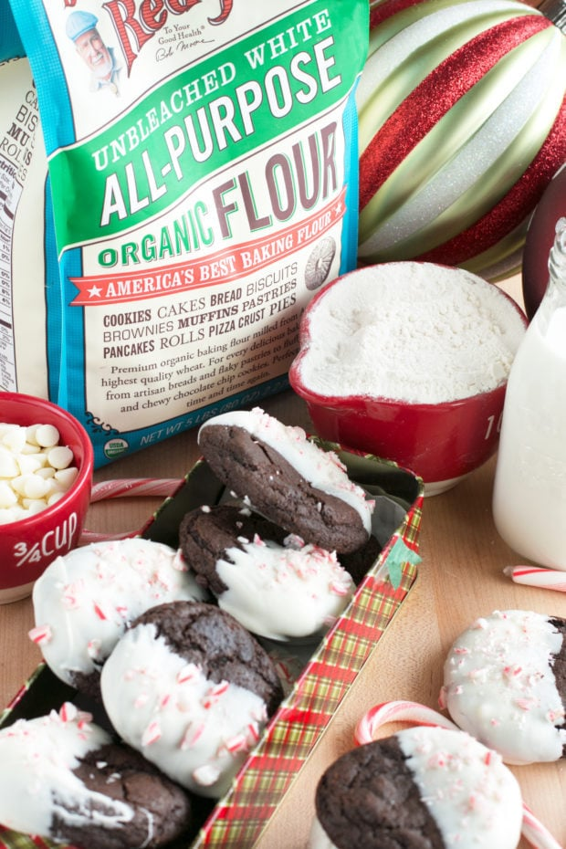 White Chocolate Dipped Dark Chocolate Peppermint Cookies | cakenknife.com #ad #12daysofgiveaways #christmas #recipe