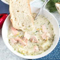 Salmon Chowder | cakenknife.com #ad #christmas #salmon #seafood #chowder #soup