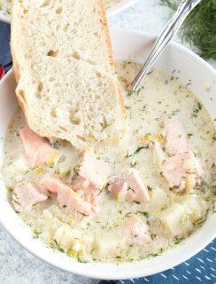 Salmon Chowder | cakenknife.com #ad #christmas #salmon #seafood #chowder #soup