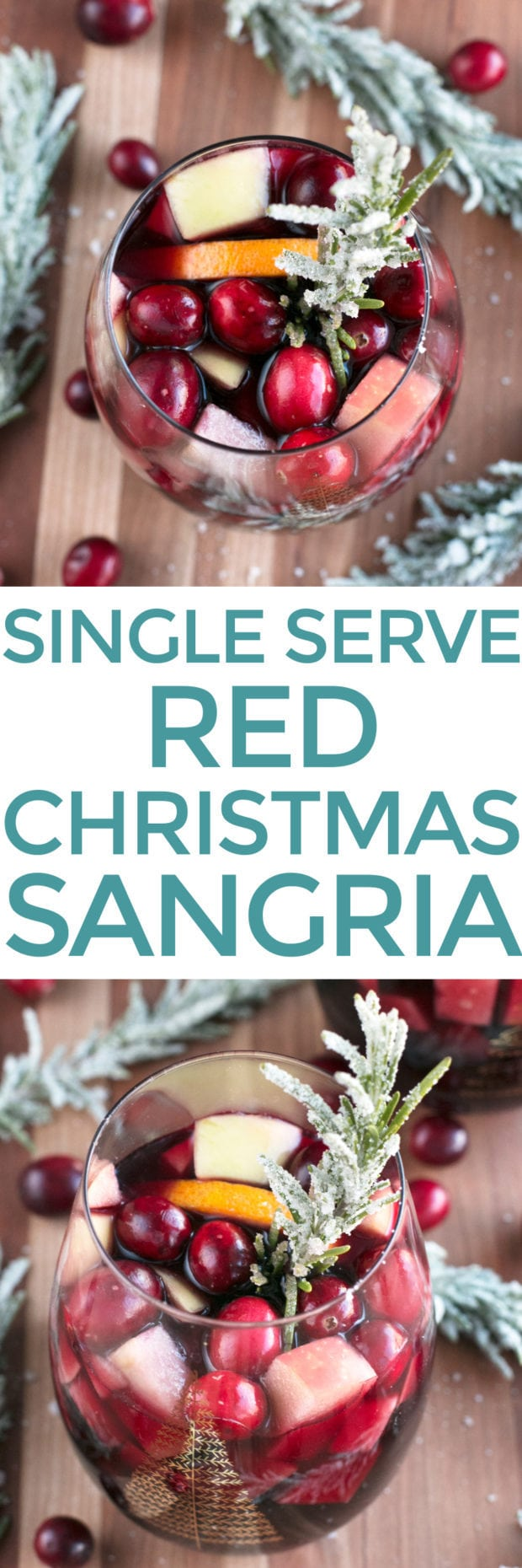 Red Christmas Single Serve Sangria | cakenknife.com #christmas #christmassangria #holidaysangria #redsangria #sangria #wine #21andup