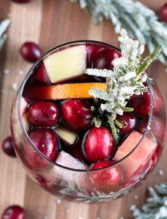 Red Christmas Single Serve Sangria   cakenknife.com #christmas #christmassangria #holidaysangria #redsangria #sangria #wine #21andup