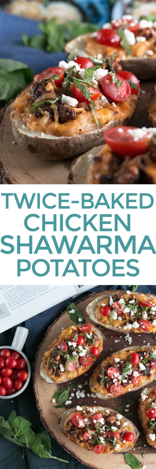 Twice-Baked Chicken Shawarma Stuffed Potatoes | cakenknife.com #moderncomfortcooking @griermountain #dinner #yummy