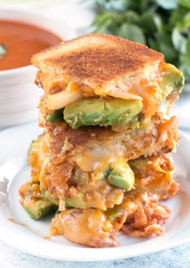 Avocado Kimchi Grilled Cheese with Thai Spiced Tomato Soup