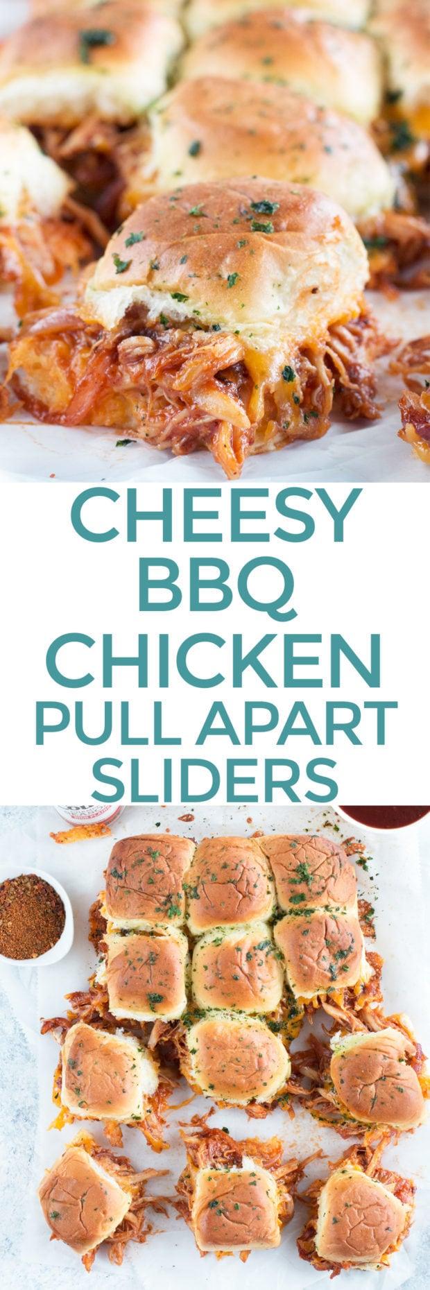 Cheesy BBQ Chicken Pull Apart Sliders