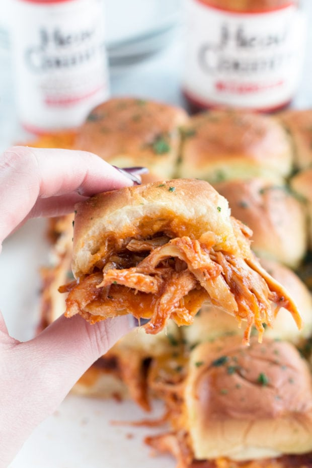 Cheesy BBQ Chicken Pull Apart Sliders