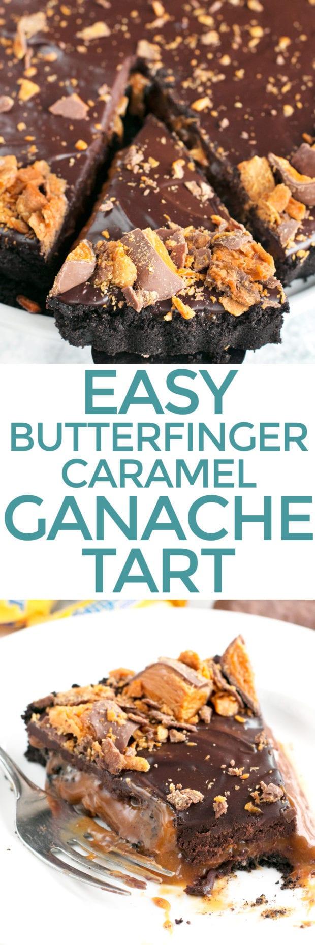 Easy Butterfinger Caramel Ganache Tart