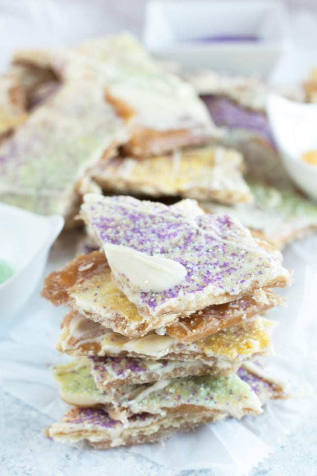 Mardis gras king cake candy in a pile photo
