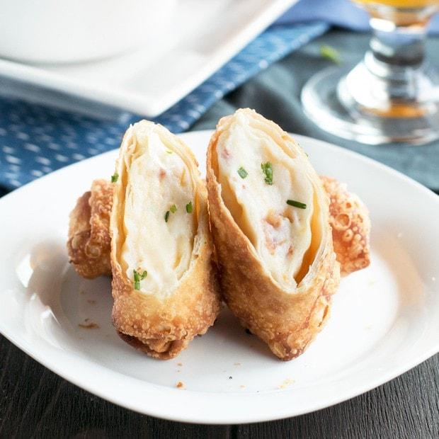 Loaded Mashed Potato Egg Rolls - Cake 'n Knife