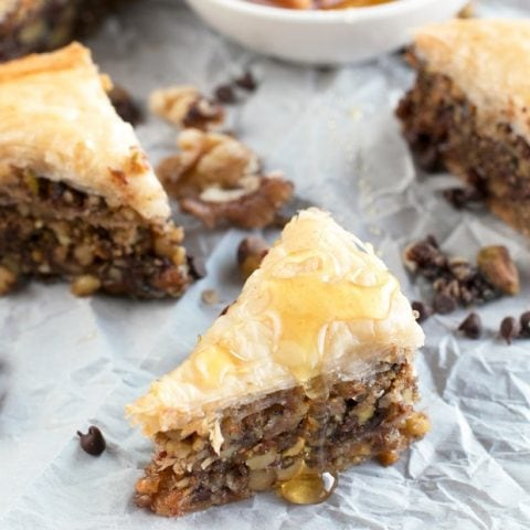 Chocolate Pistachio Baklava with Bourbon Orange Honey Syrup