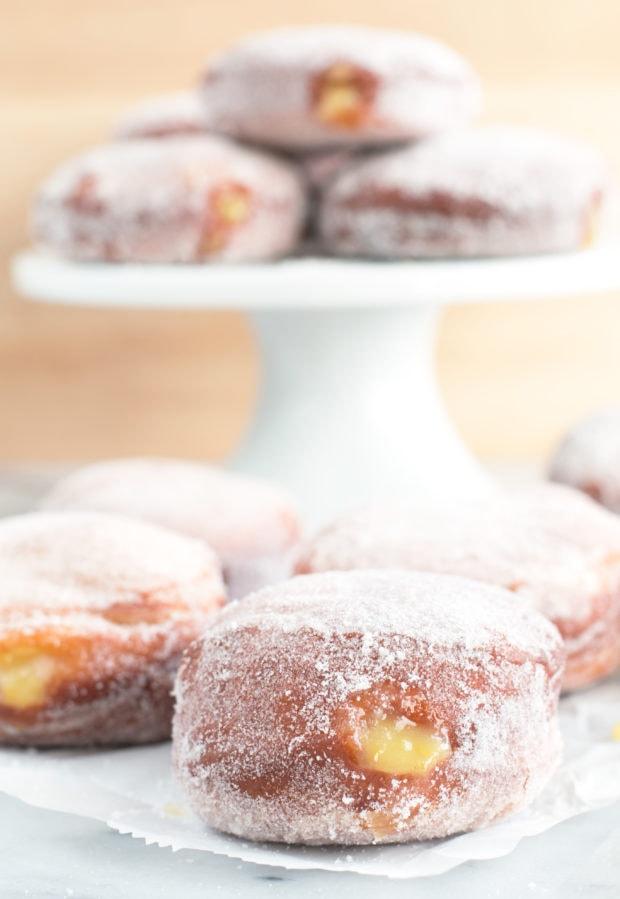 Lavender Lemon Curd Filled Doughnuts