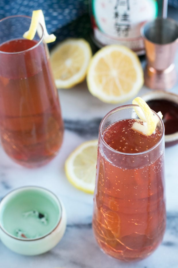 Sparkling Elderflower Sake Cocktail