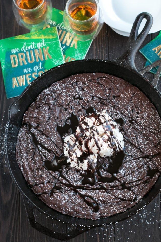 Whiskey Skillet Brownie with Bailey's No Churn Ice Cream