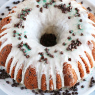 Bailey's Chocolate Chip Bundt Cake on cake stand