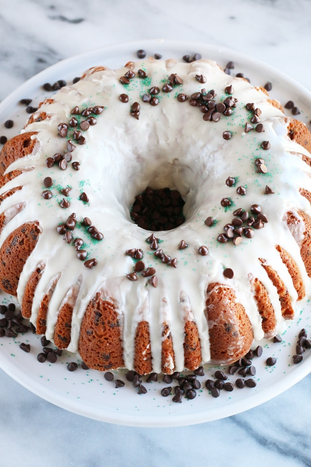 Bailey's Chocolate Chip Bundt Cake on cake stand maternity leave